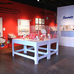 The exhibition begins with the retrospective portion, which takes you back through four decades of Hello Kitty throwbacks. The first room features a vintage phone, plush dolls, and must-have school supplies. We also learn that Hello Kitty's full name is K