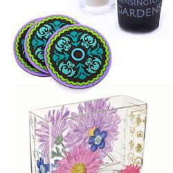 Kensington Gardens Tisane Candle, $15.00. Images d'Orient Nassij<br />Coaster Set, $38.00. Fringe Studio Chelsea Salutations Vase, $50.00.