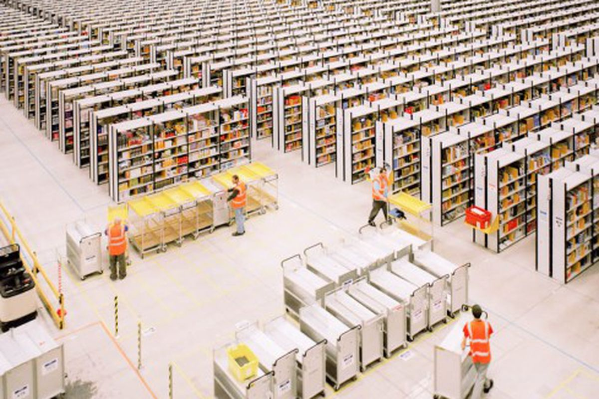 The inside of an Amazon distribution center in Rugeley, England.