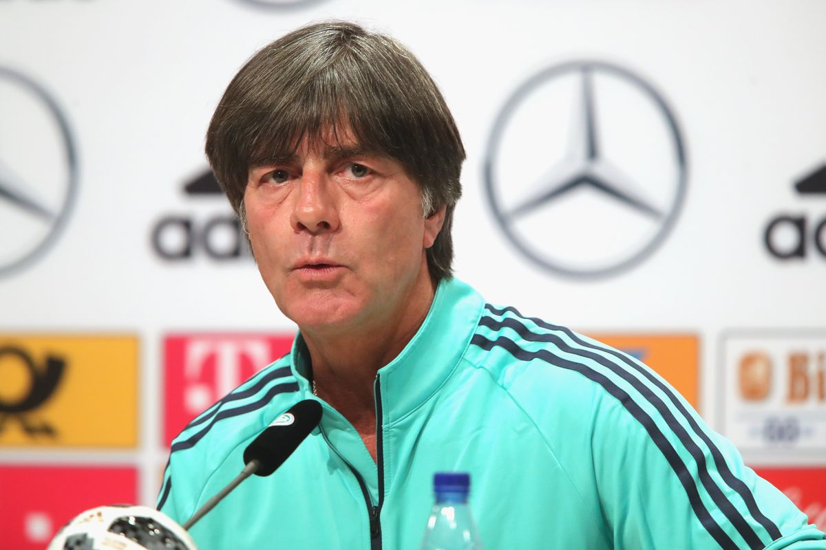 Germany Training And Press Conference MOSCOW, RUSSIA - JUNE 13: Joachim Loew, head coach of Germany talks to the media during the Germany press conference ahead of the 2018 FIFA World Cup at the Vatatunki Hotel Complex on June 13, 2018 in Moscow, Russia