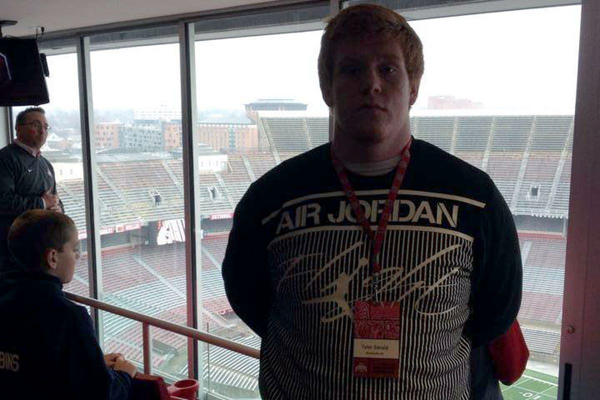 Class of 2016 offensive lineman Tyler Gerald was one of the many talented recruits in Columbus on Saturday.