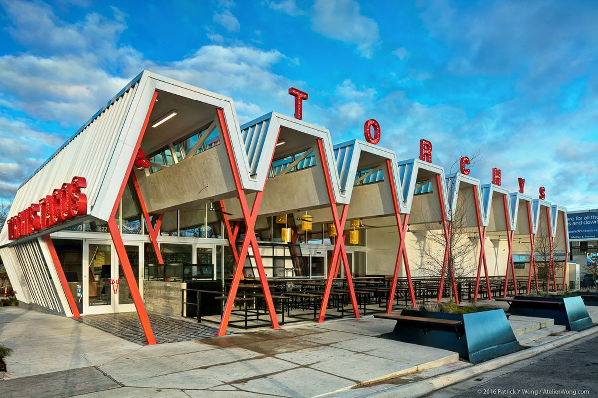 zig-zag roofline of a new Austin taco joint