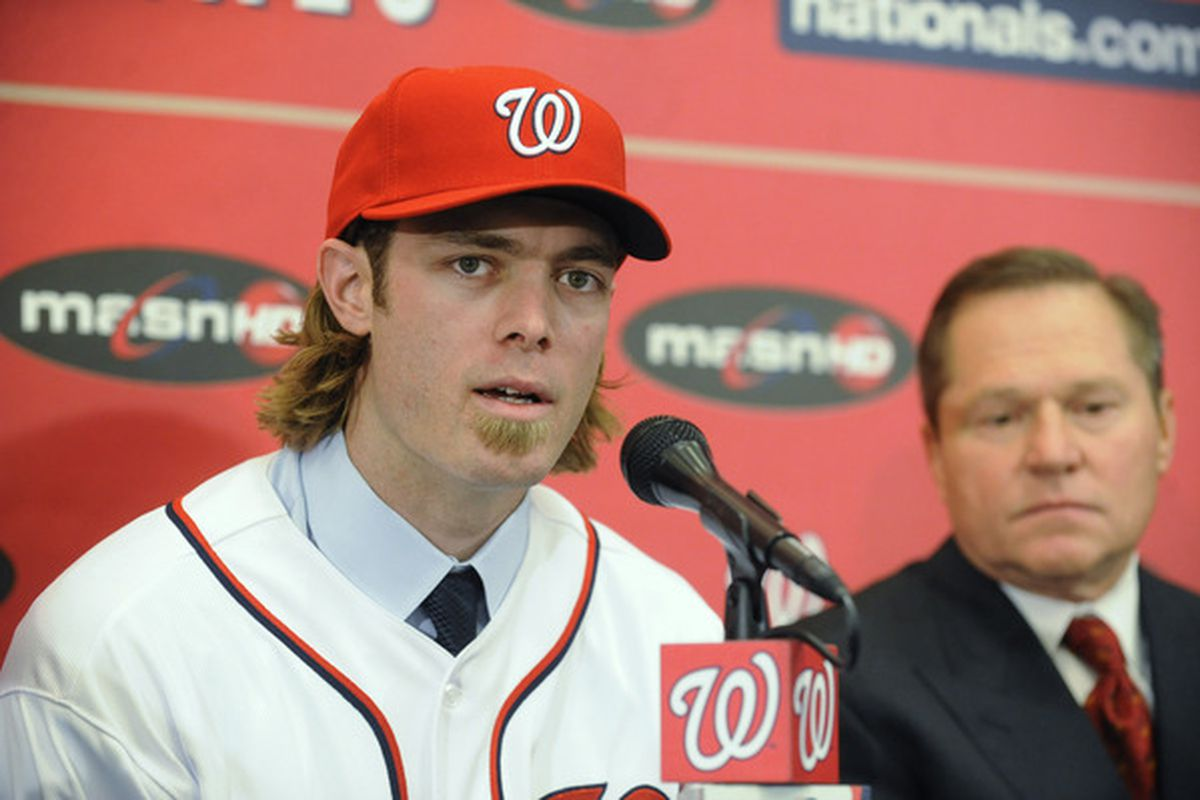 WASHINGTON DC - DECEMBER 15:  Jayson Werth #28 of the Washington Nationals speaks as he is introduced to the media on December 15 2010 at Nationals Park in Washington DC.   (Photo by Mitchell Layton/Getty Images)
