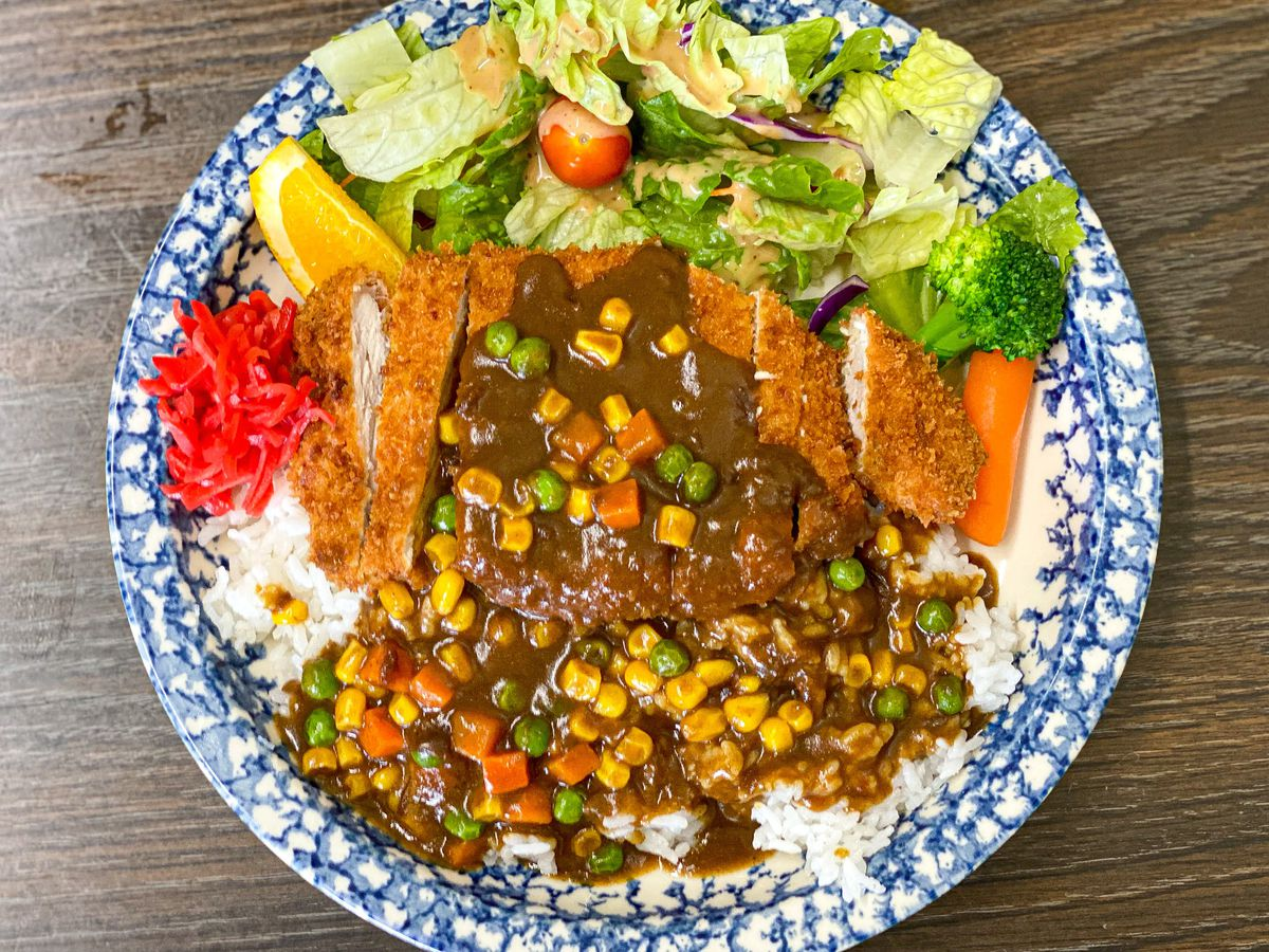 Japanese curry with pork over rice at Otomisan.