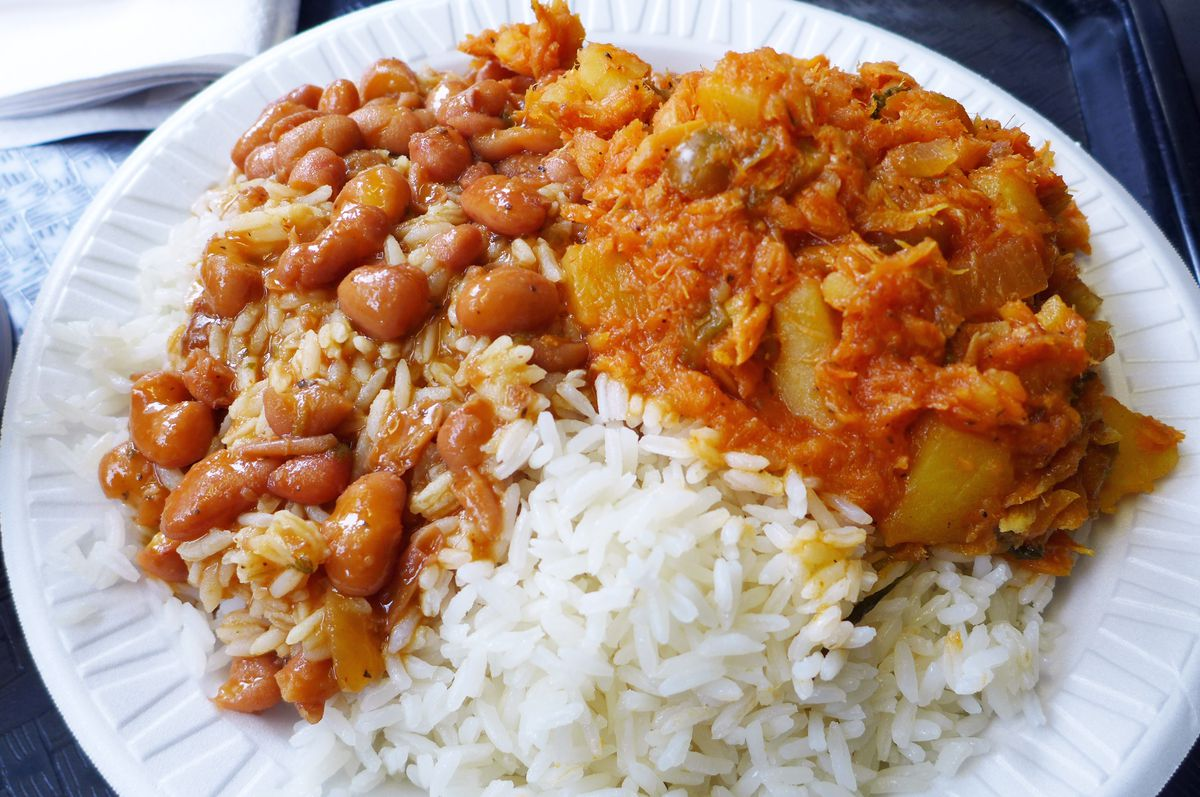 Bacalao, beans, and rice