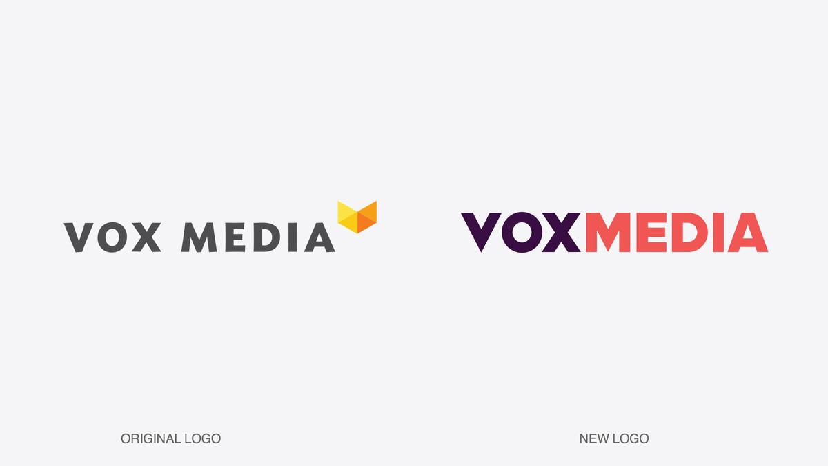 Old Vox Media logo on left. New Vox Media logo on right.