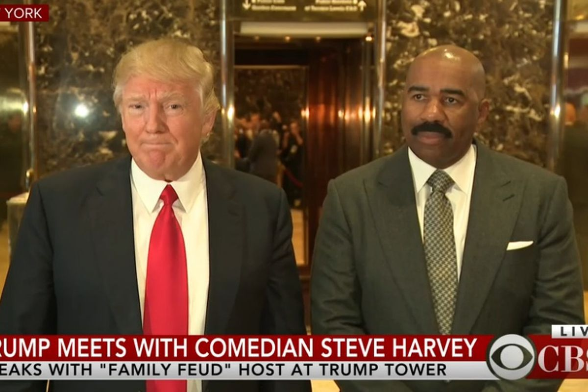 d5e1a518739ac President-elect Donald Trump and comedian Steve Harvey talk to reporters on  Friday. Sun-Times Media.