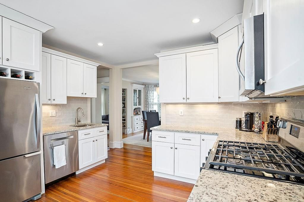 A modern kitchen with two counters.