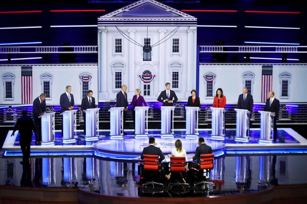 The first of two Democratic presidential candidates debate held on June 26, 2019 in Miami, Florida.
