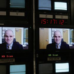 Former LDS missionary Andrew Propst talks with Travis Tuttle via Skype in Salt Lake City August 16, 2012. They were  kidnapped in 1998 while missionary companions in the LDS Russia Samara Mission.  A film is being made about their experience.