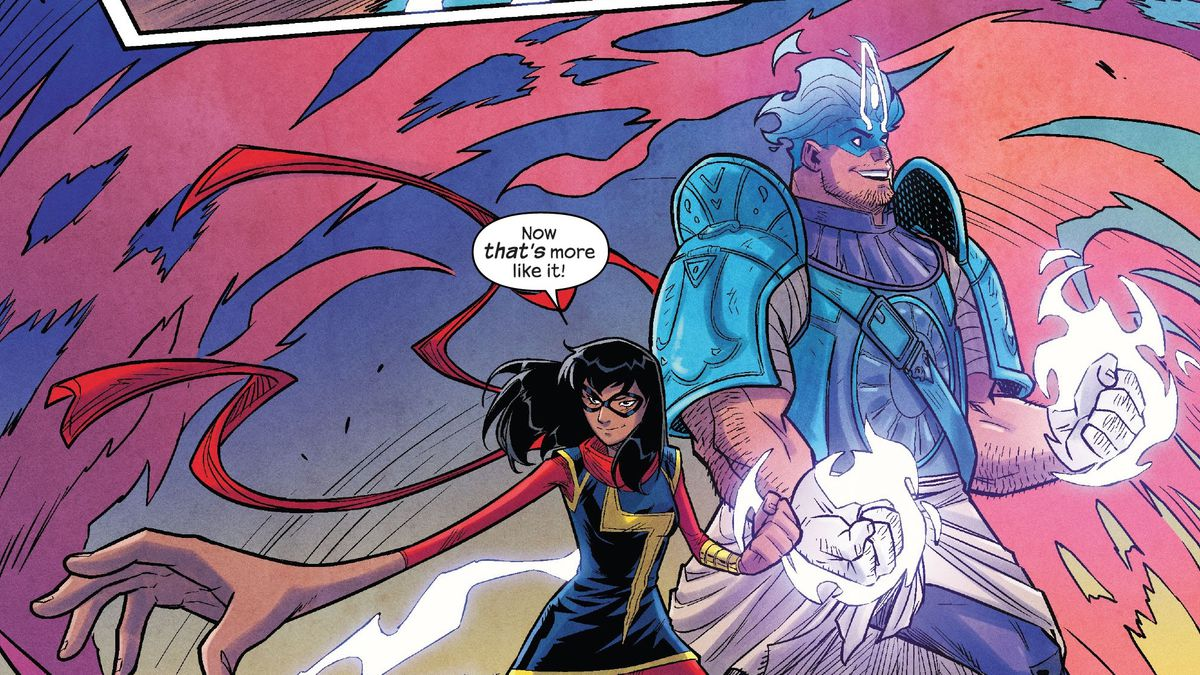 Ms. Marvel and Amulet strike cool poses as they save the day. Amulet is a head and shoulders taller than Ms. Marvel, barrel chested, and dressed in blue and purple armor with a nazar motif. His fists glow with white energy. In The Magnificent Ms. Marvel #13, Marvel Comics (2020).