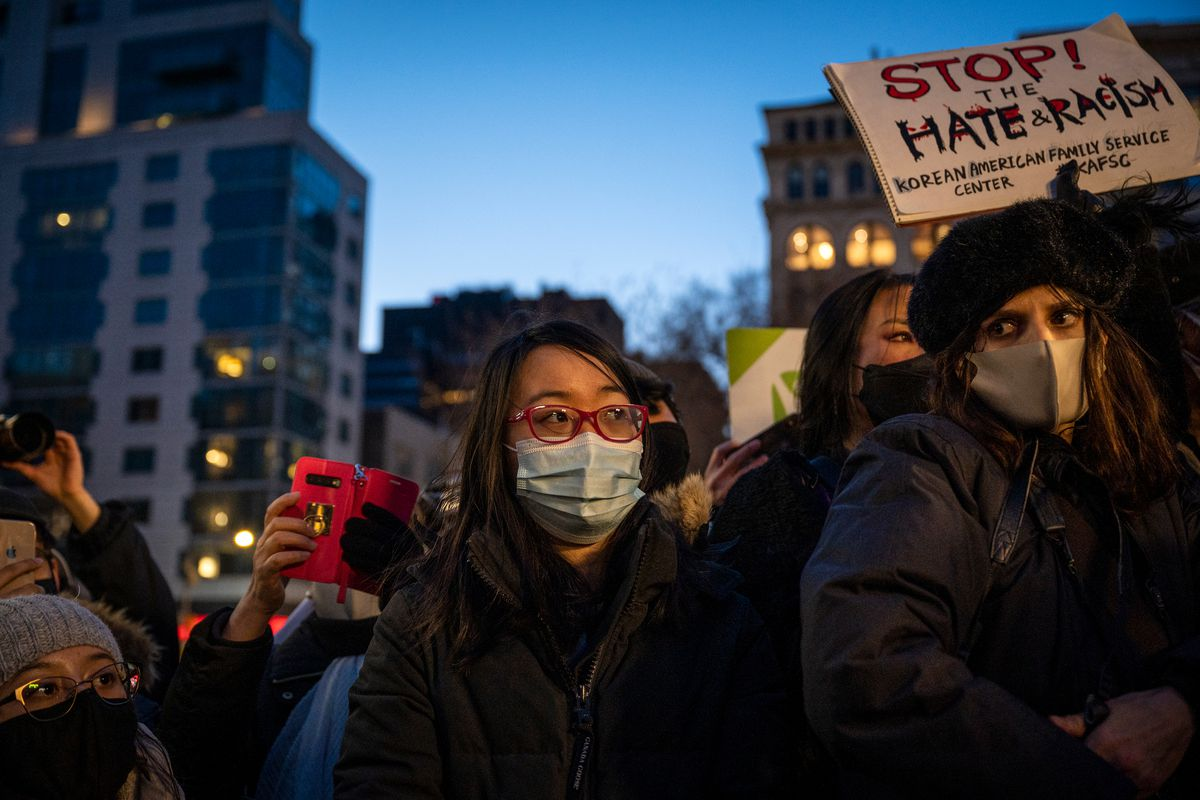 Hundreds of people packed into Union Square during an Asian American Federation peace vigil following the shootings in Atlanta, March 19, 2021.