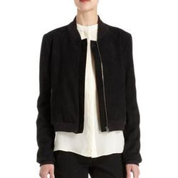 """<strong>Holmes & Yang</strong> Suede Zip Front Bomber Jacket, <a href=""""http://www.barneys.com/on/demandware.store/Sites-BNY-Site/default/Product-Show?pid=502860421&cgid=women&index=7"""">$1650</a> at Barneys New York"""