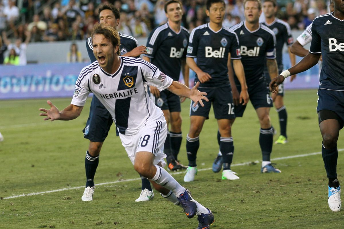 CARSON, CA - JUNE 23:  Mike Magee #18 of the Los Angeles Galaxy reacts after scoring a goal i n first half against the Vancouver Whitecaps at The Home Depot Center on June 23, 2012 in Carson, California.  (Photo by Stephen Dunn/Getty Images)
