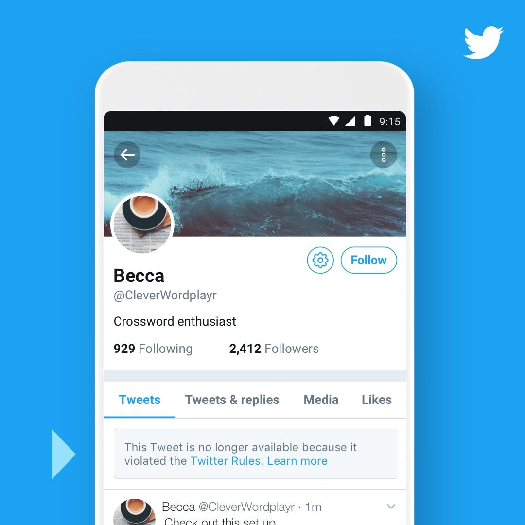 Twitter تويتر سيوضح للمستخدمين متى تم الإبلاغ عن تغريدة