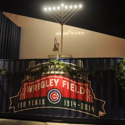 Another view of the holiday display on the Clark Street side of the Cubs Store