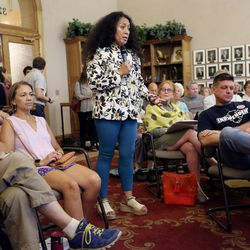Amelia Niumeitolu speaks in opposition to a proposed property tax increment reimbursement of up to $28 million for development of an inland port during a Salt Lake City Council Redevelopment Agency meeting at the City-County Building in Salt Lake City on Tuesday, Aug. 20, 2019.
