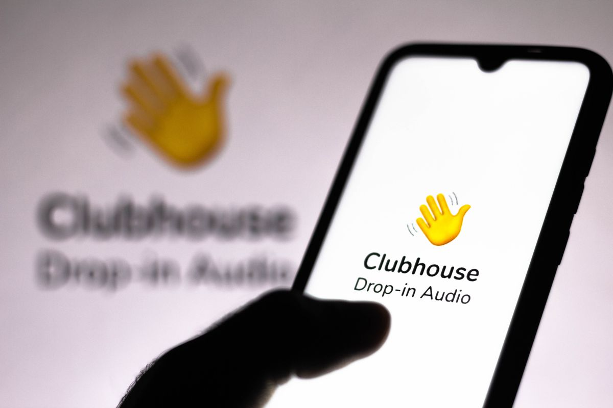 Clubhouse logo on an iPhone.