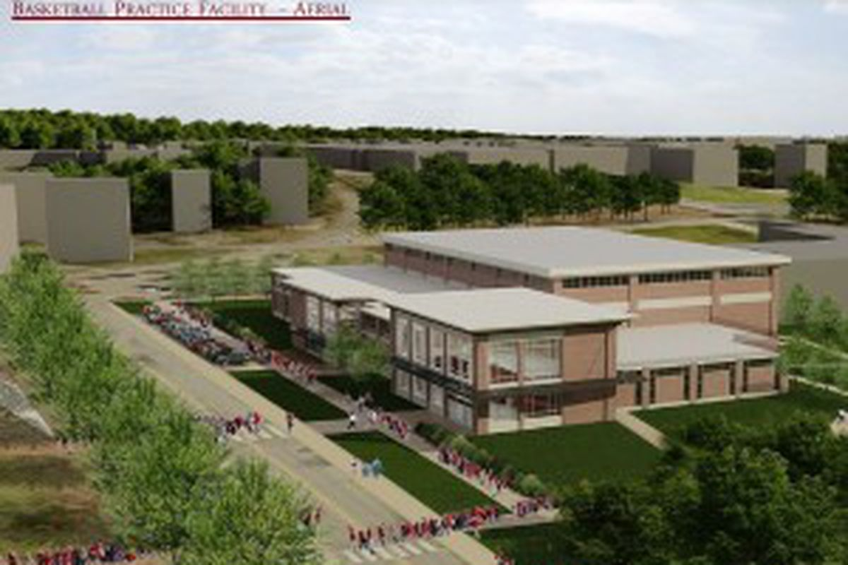 Architectural rendering of the proposed basketball practice facility just south of Bud Walton Arena.