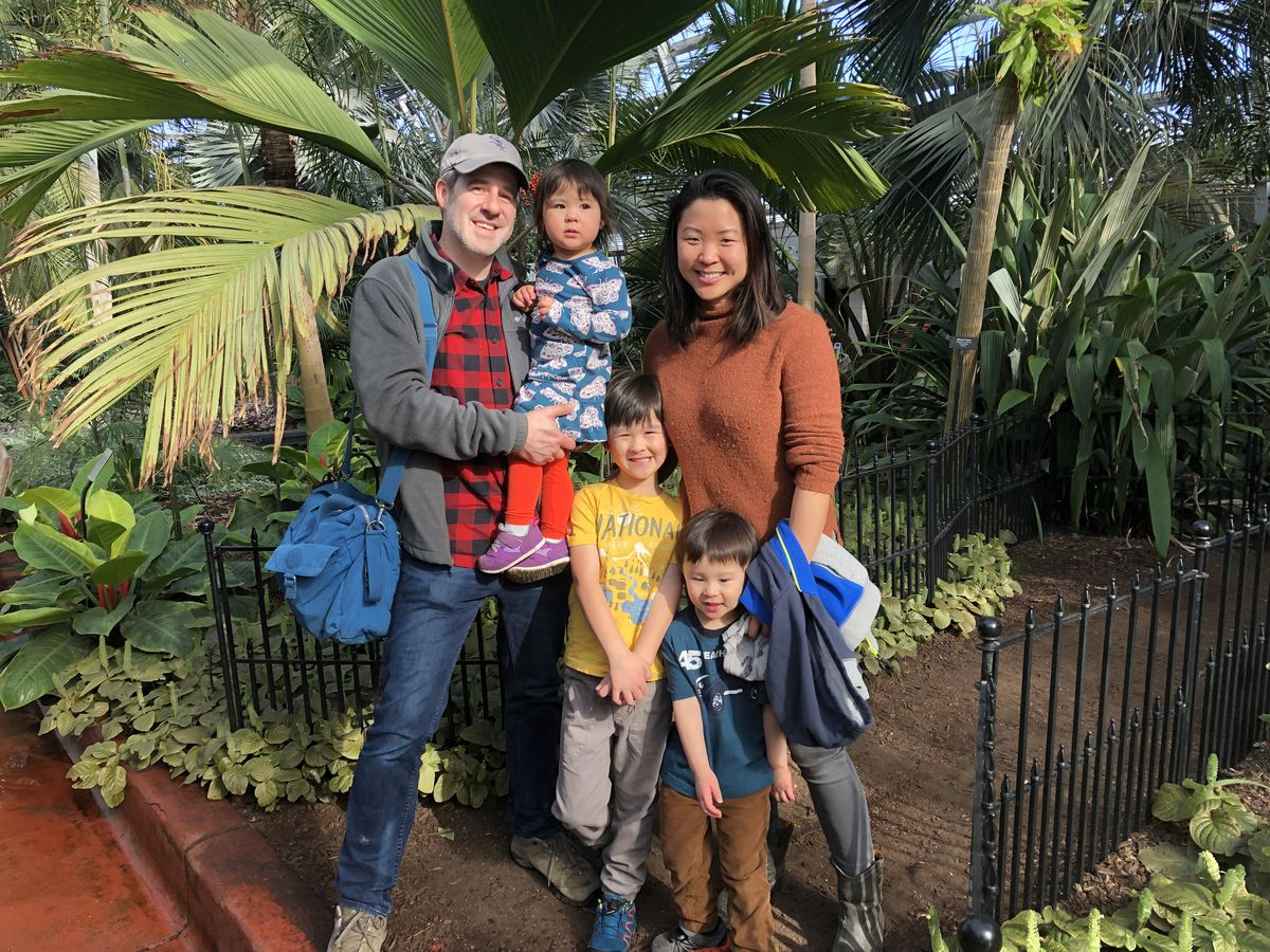 Jonathon and Joann Kirk with their kids Matthias, Elaeth and Sara (left to right) at the Garfield Park Conservatory