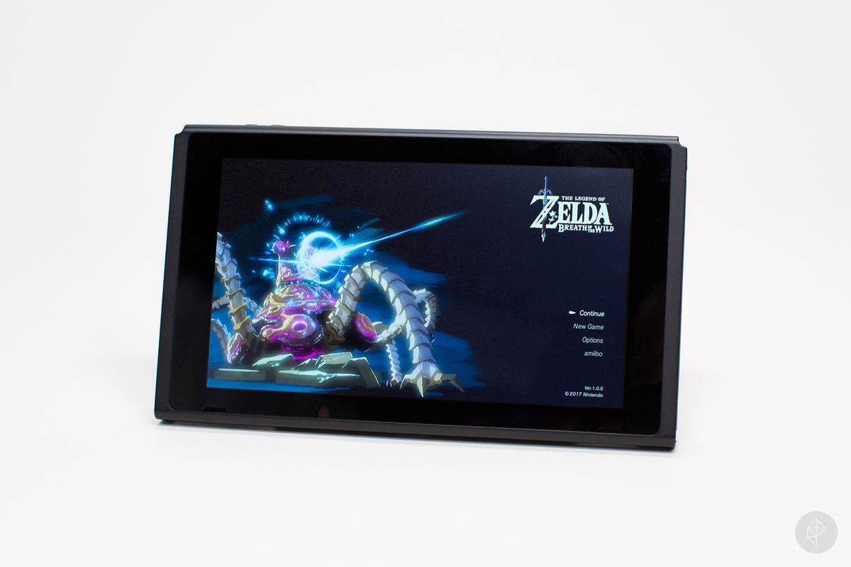 Nintendo Switch tablet with Zelda main menu