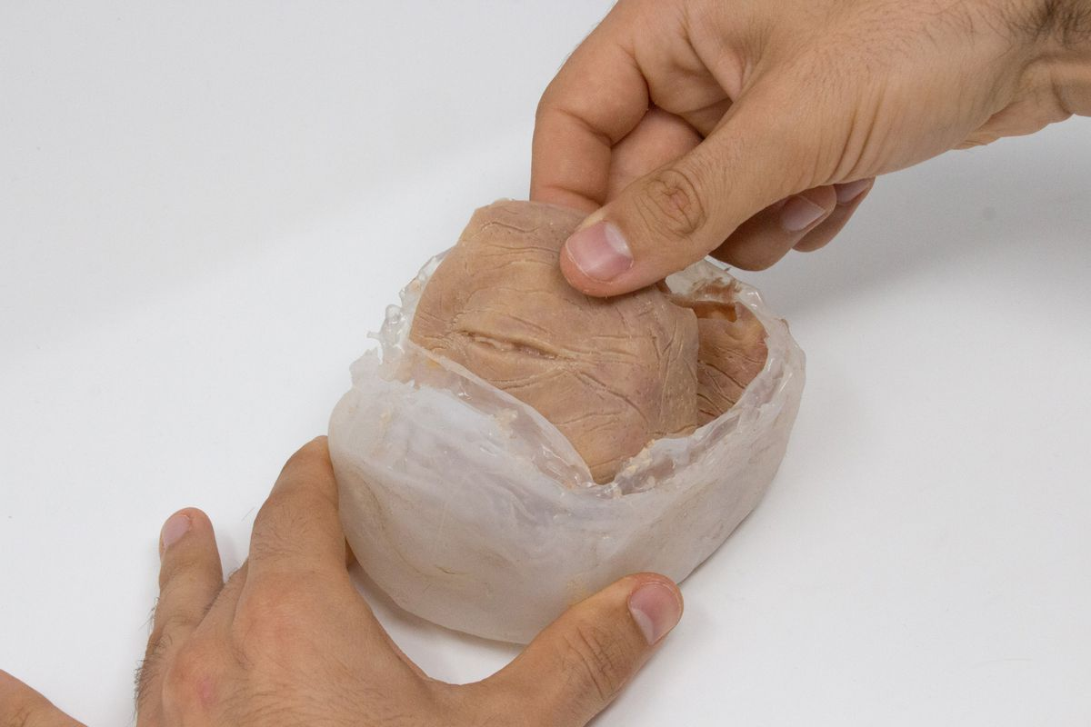 Two hands, one braced at the bottom of a container, and the other pulls out a piece of synthetic meat with eyelids.  The eyeball has not been inserted yet.