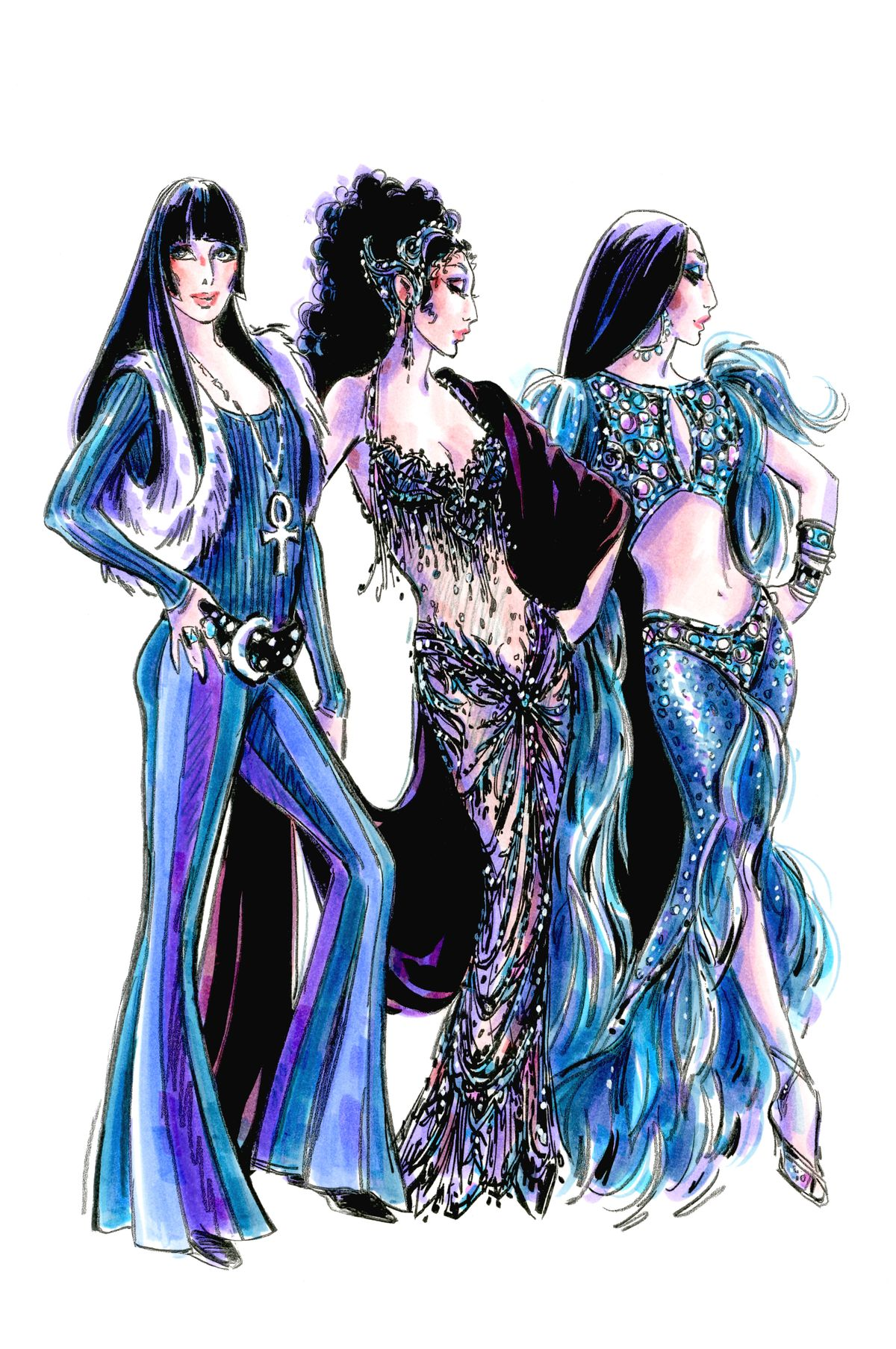 """A Bob Mackie sketch for costumes he created for """"The Cher Show"""" stage musical. 