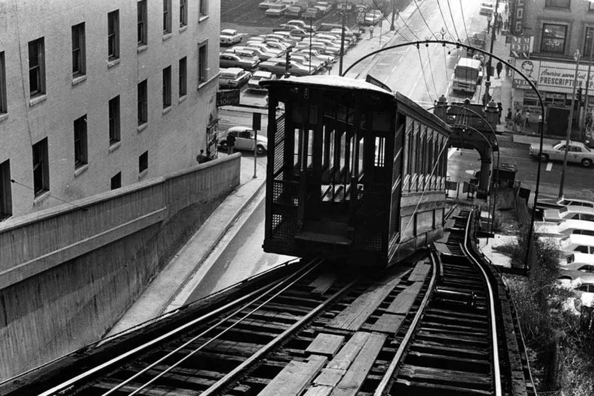 Black and white photo of Angels Flight