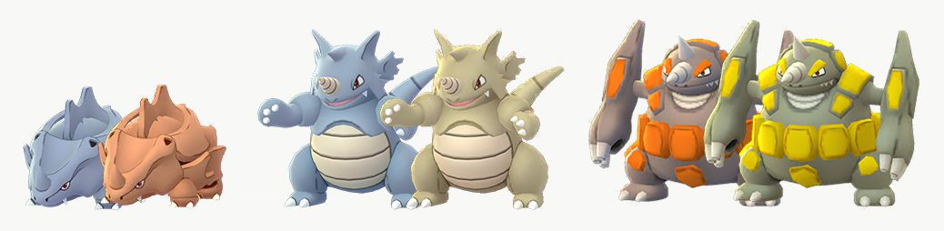 Rhyhorn, Rhydon, and Rhyperior stand next to their Shiny forms, which are orange or gold