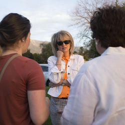 Karen Newton, left, Kathy Stidham and Sarah Stidham talk outside an LDS meetinghouse in Sandy  on Thursday, June 8, 2017, after an interfaith gathering to comfort the community following Tuesday's deadly shooting. The Stidham's home was a couple houses away from the incident.