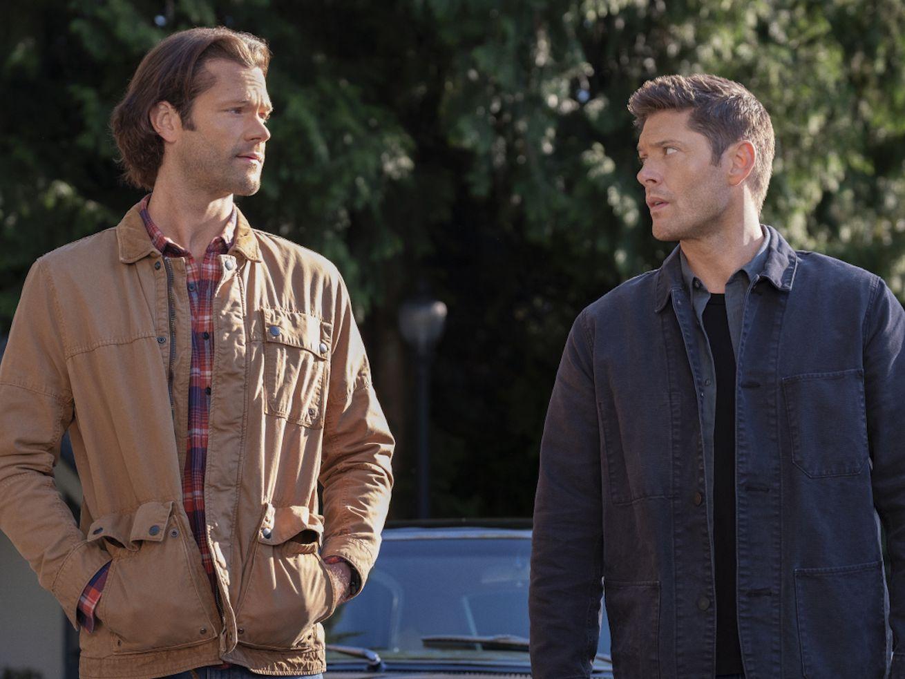 "Jared Padalecki as Sam and Jensen Ackles as Dean in the show ""Supernatural."""