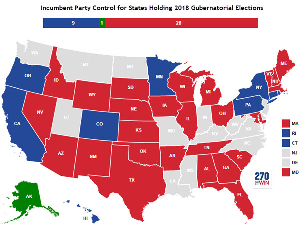 Incumbent party control for states holding 2018 gubernatorial elections