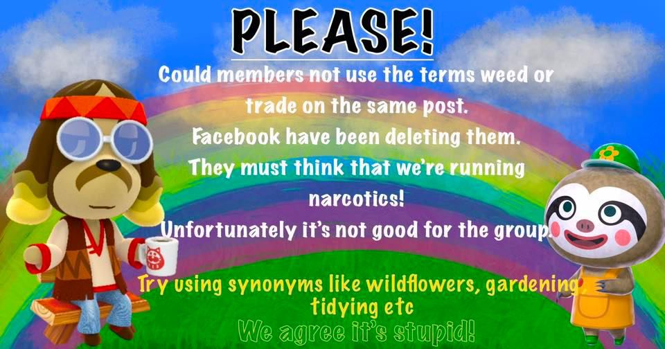 """A PSA against using the term """"weeds"""" on an Animal Crossing Facebook group."""