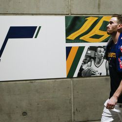 Utah Jazz forward Gordon Hayward walks off the court after losing to the Golden State Warriors during Game 4 of the Western Conference Semifinal at Vivant Smart Home Arena in Salt Lake City on Monday, May 8, 2017.