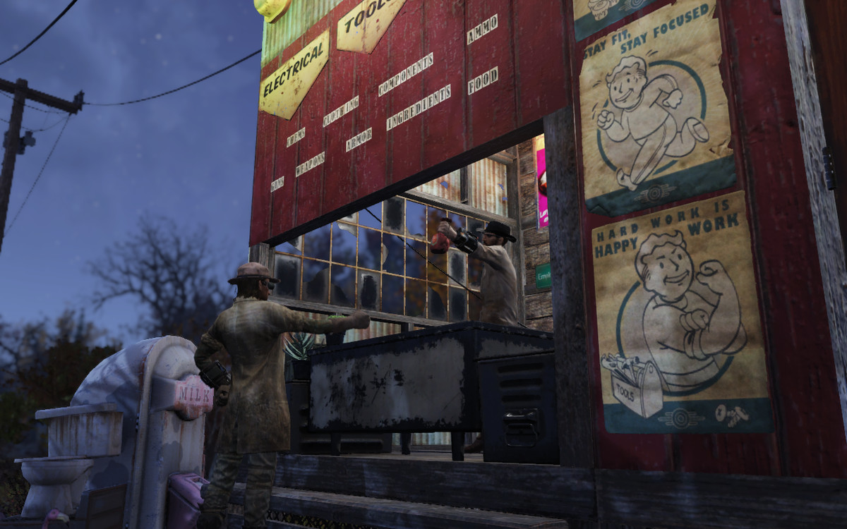 Fallout 76 - A player approaches another player's shop to make a deal