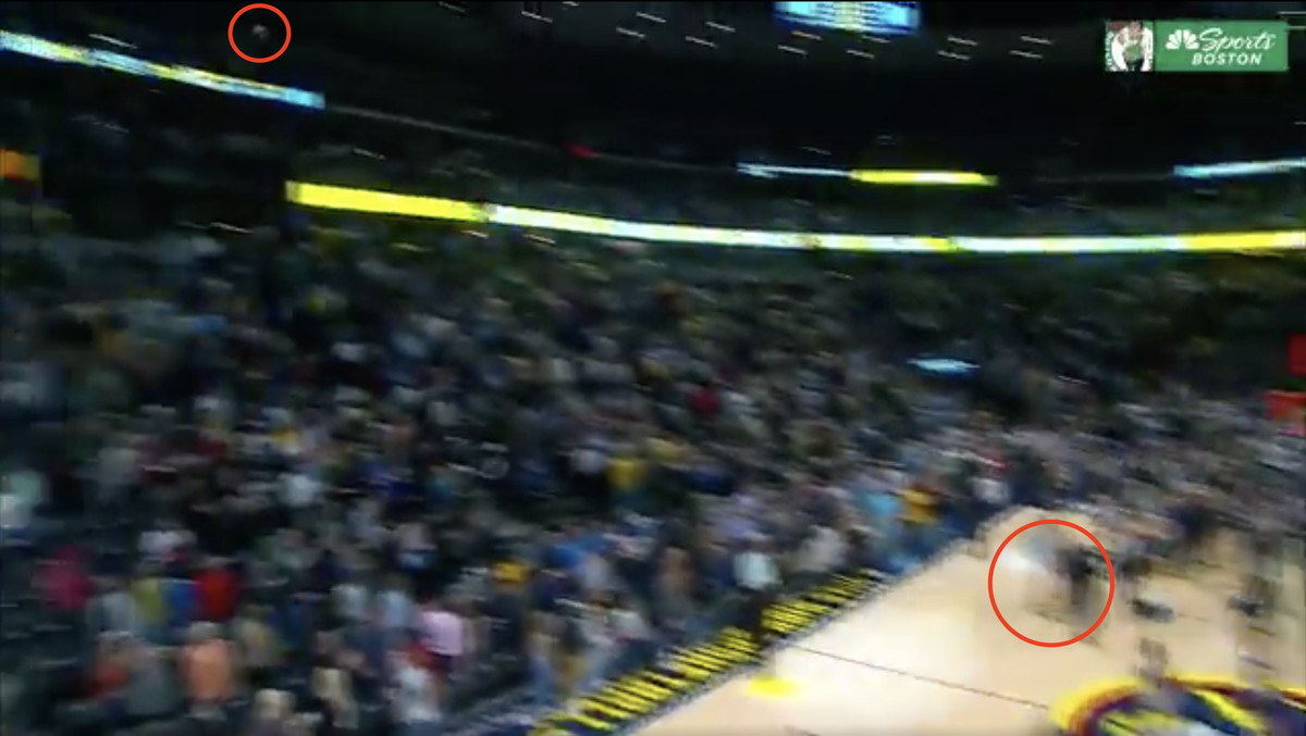 Screenshot of a red circle around where Kyrie Irving threw the ball and where the ball wound up