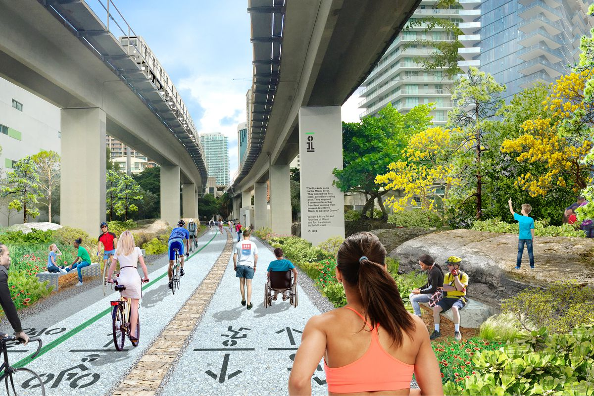 A rendering of the Underline, a forthcoming linear park in Miami, showing residents using the running paths and bike trails.