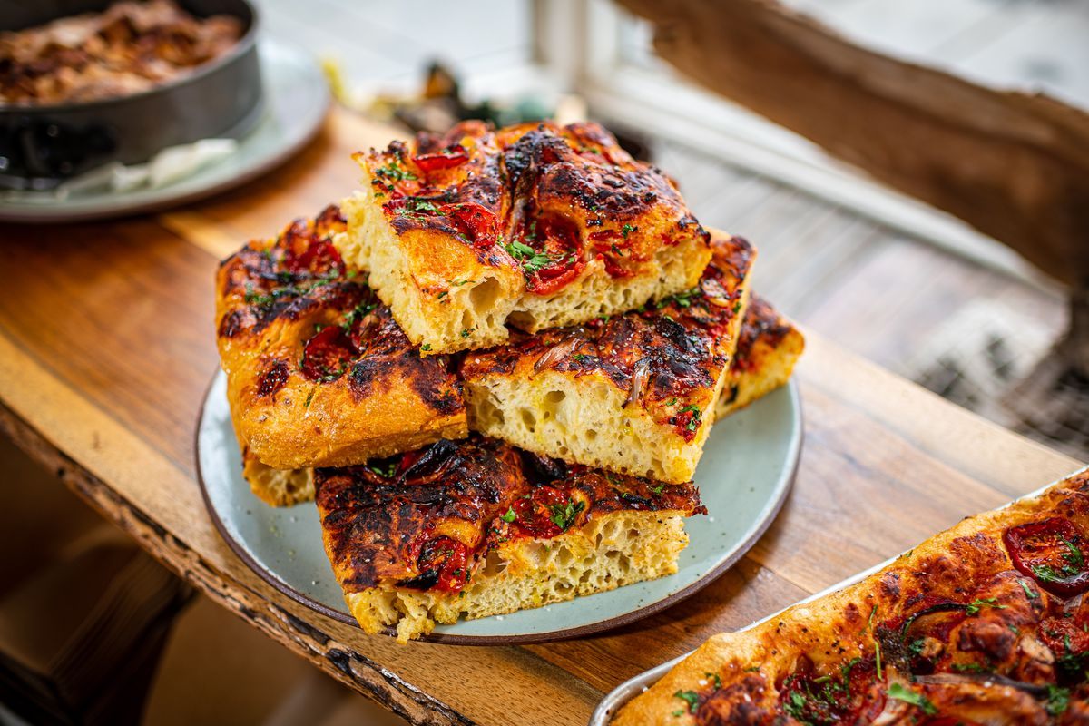 Fluffy focaccia from Green Almond Pantry's former space in Shaw