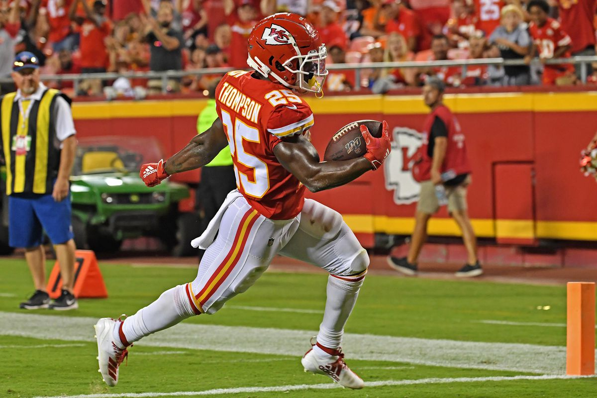 Darwin Thompson of the Kansas City Chiefs rushes in for a touchdown during the third quarter against the Cincinnati Bengals at Arrowhead Stadium on August 10, 2019 in Kansas City, Missouri.
