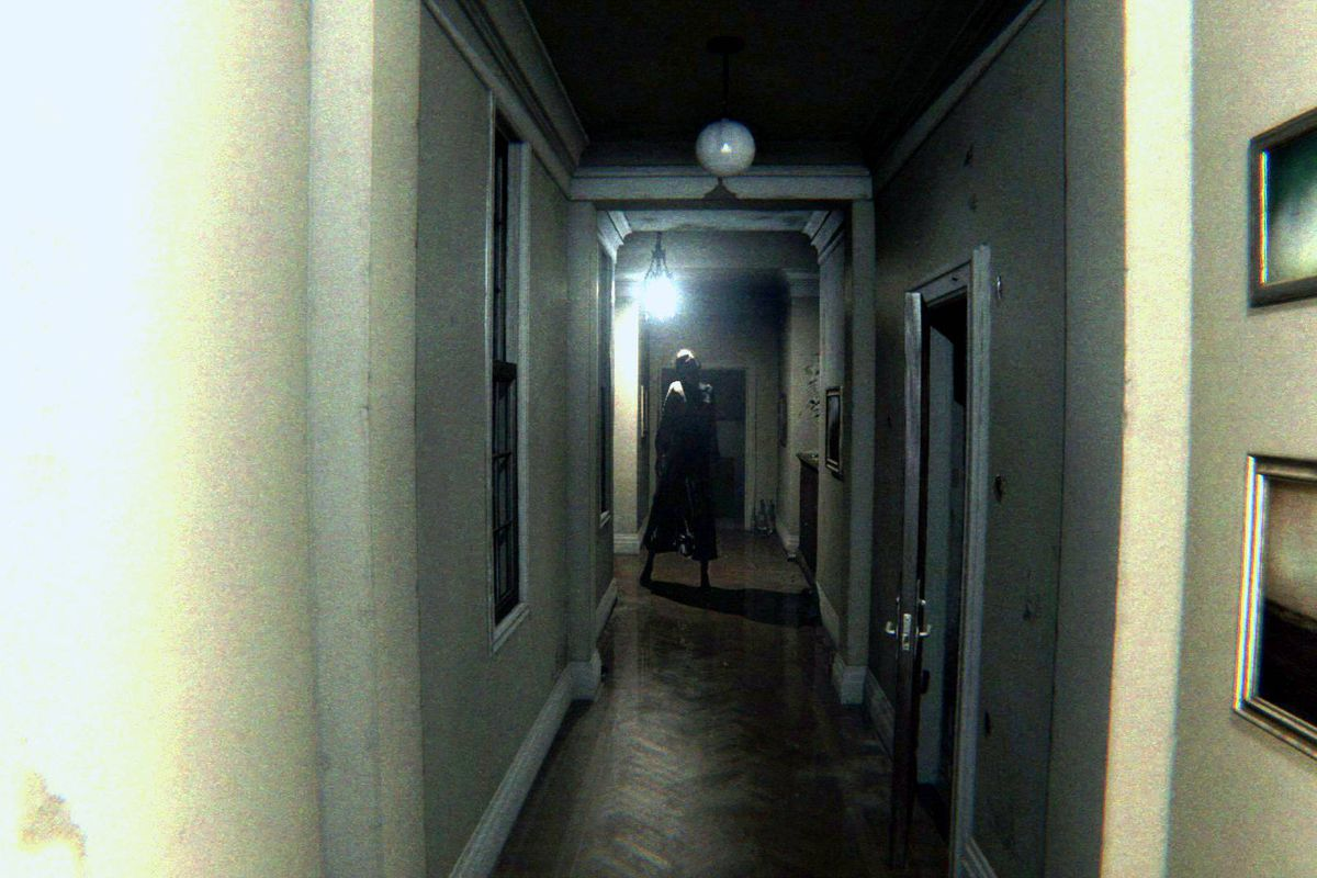 Scary P.T. character Lisa down a dark hallway