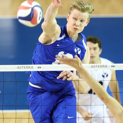 BYU's Miki Jauhiainen hammers down a spike as they play Pepperdine in the finals of the Mountain Pacific Sports Federation Championship, at the Smith Field House in Provo on Saturday, April 24, 2021. BYU won in straight sets.