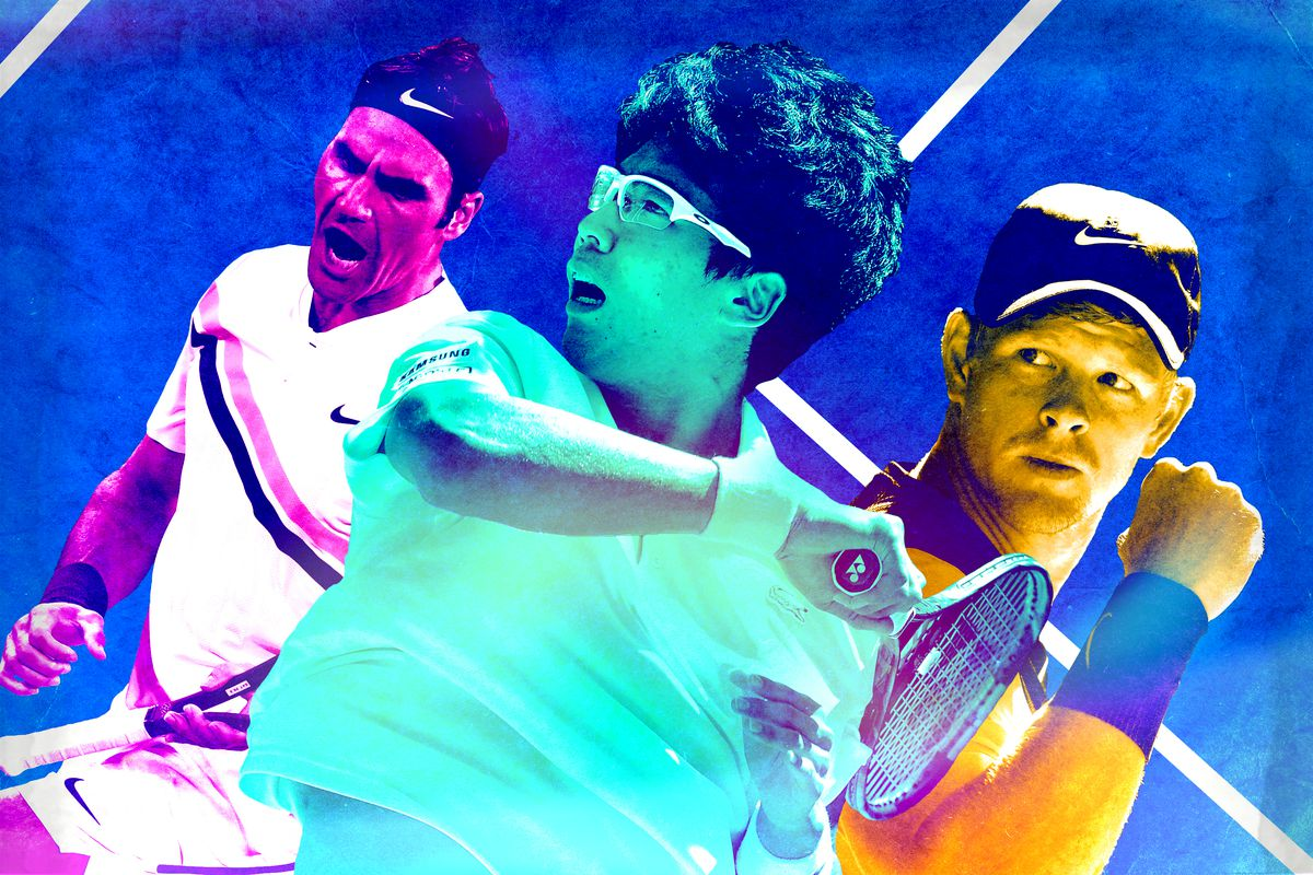 Rodger Federer, Hyeon Chung, and Kyle Edmund