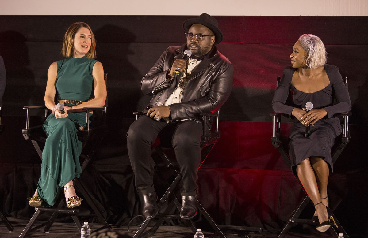 "Gillian Flynn (left) and Cynthia Erivo listen to ""Widows"" actor Brian Tyree Henry at the Chicago International Film Festival Q&A. | Barry Brecheisen"