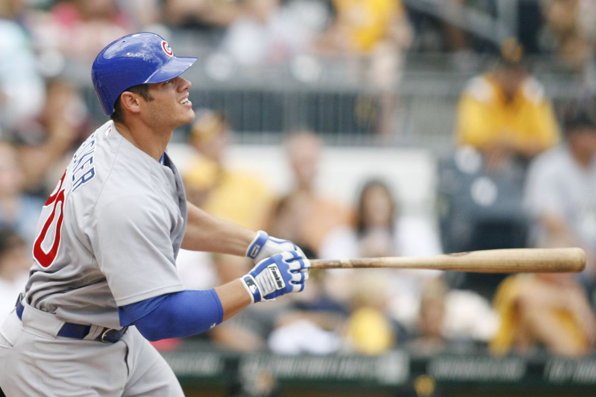 Pittsburgh, PA, USA; Chicago Cubs catcher Anthony Recker reacts after hitting a solo homerun against the Pittsburgh Pirates at PNC Park. Credit: Charles LeClaire-US PRESSWIRE