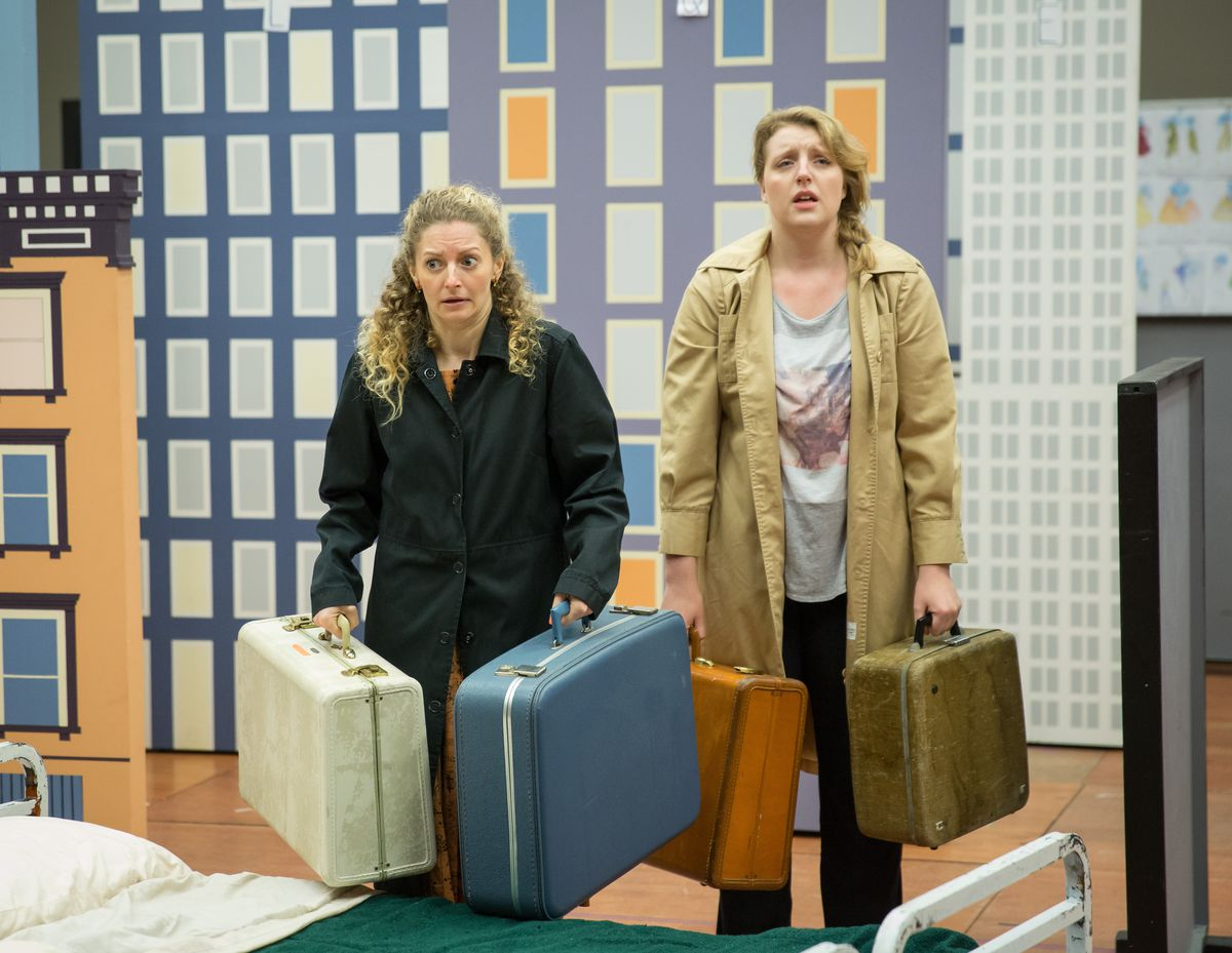 """Lauren Molina (left) and Bri Sudia in rehearsal for the Goodman Theatre production of """"Wonderful Town,"""" the musical by Leonard Bernstein and Betty Comden and Adolph Green, directed by Mary Zimmerman. (Photo: Liz Lauren)"""