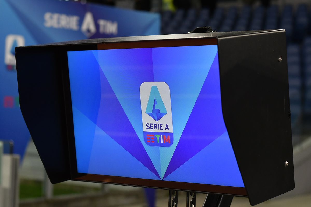 Var monitor displays the Serie A logo prior to the football...