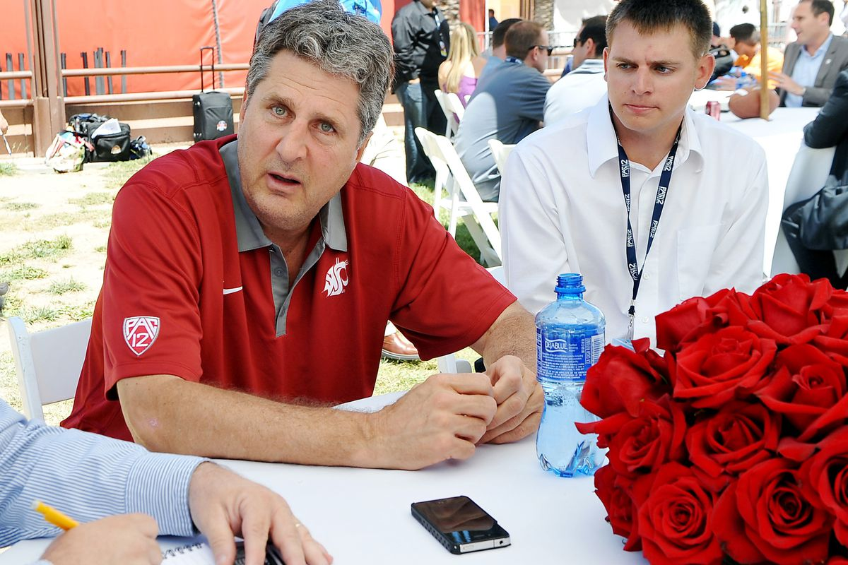 July 24, 2012; Los Angeles, CA, USA; This is a normal look for Mike Leach. Jayne Kamin-Oncea-US PRESSWIRE
