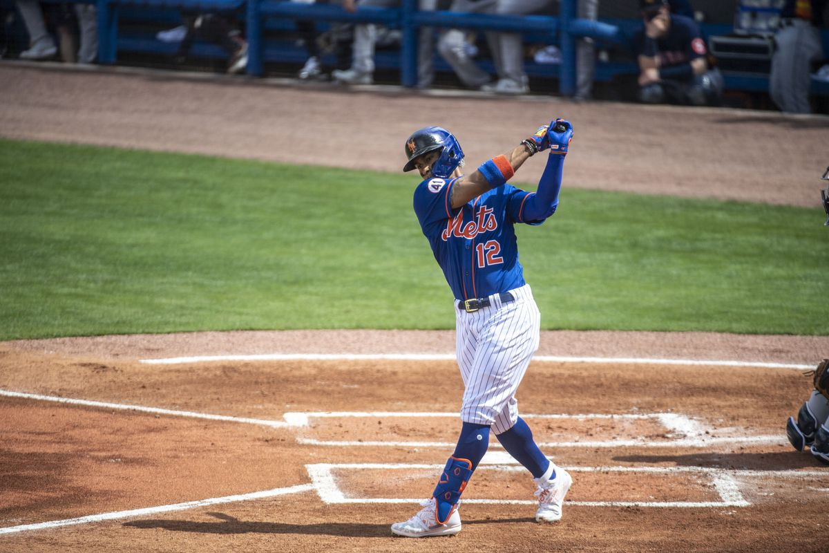 New York Mets' Francisco Lindor ready to bat in exhibition game against the Houston Astros