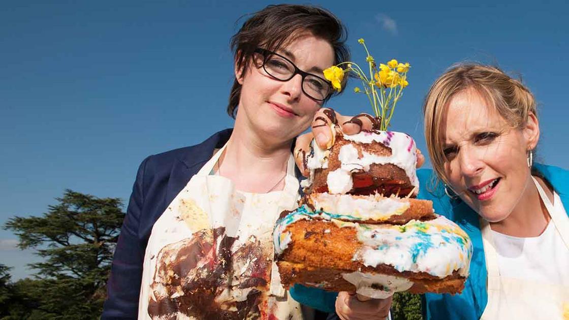 BBC photo of Great British Bake Off hosts