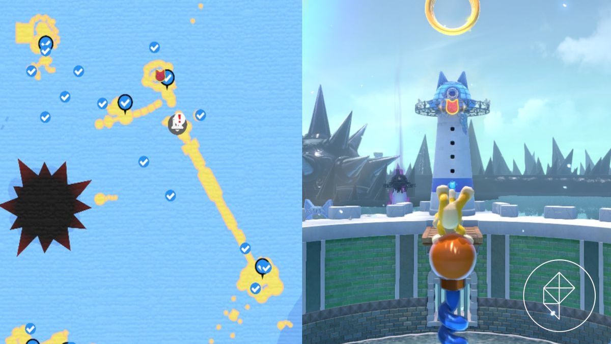 A map showing where to find a Cat Shine Shard floating above Clawswipe Colosseum